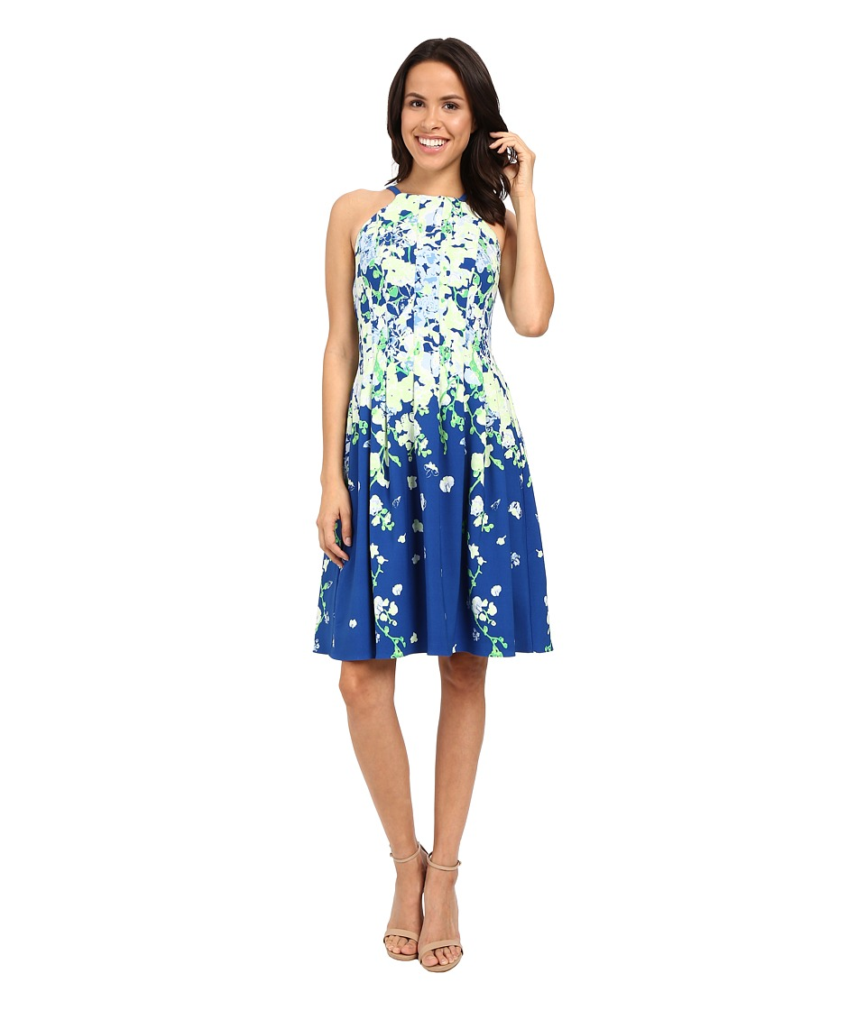 Adrianna Papell - Garden Party Placed Floral Print Dress (Blue/Multi) Women's Dress