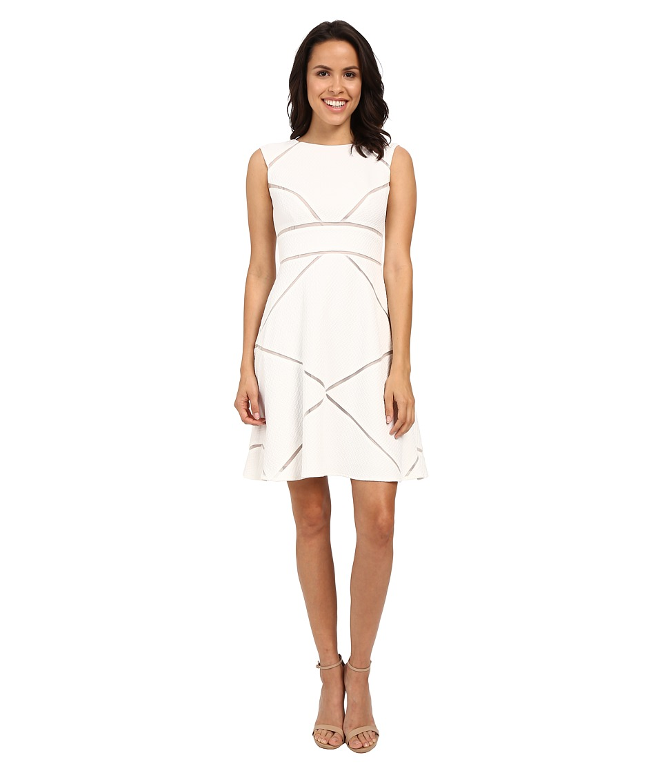 Adrianna Papell - Scoop Neck Sleeveless Dress w/ Illusion (White/Pale Pink) Women's Dress