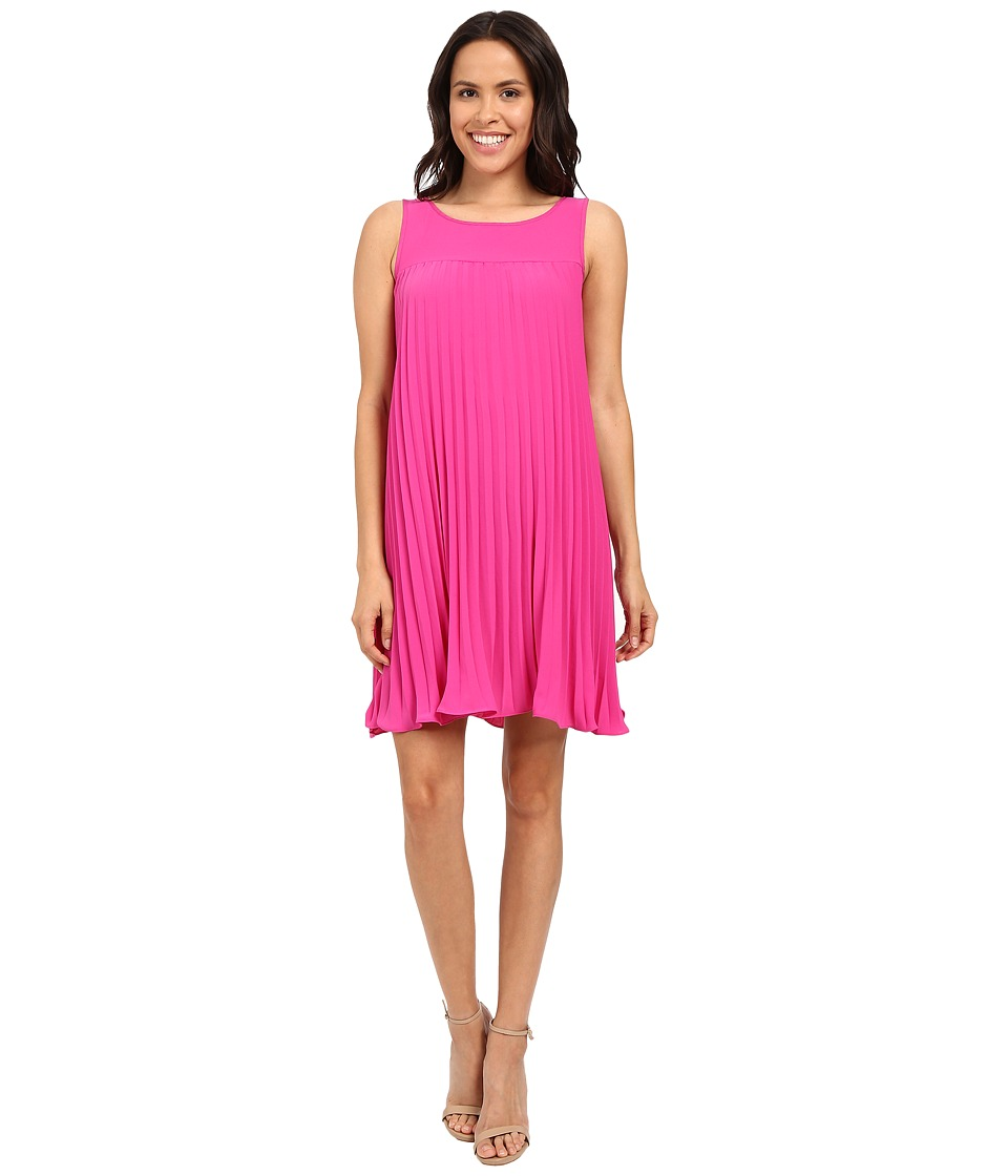 Adrianna Papell - Flyaway Pleated Shift Dress (Hot Pink) Women's Dress