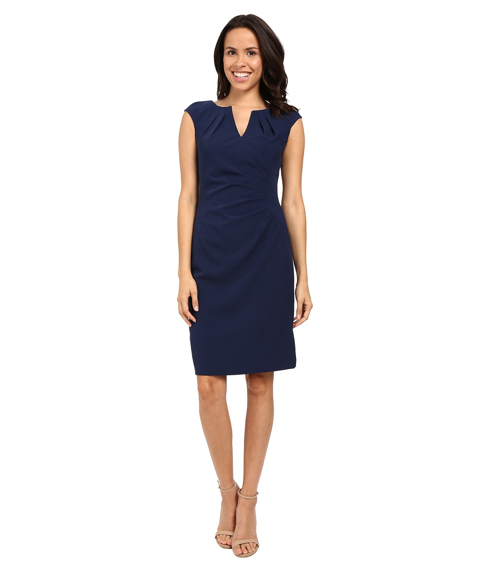 Adrianna Papell - Pleated Side Wrap Sheath Dress (Dusk) Women's Dress