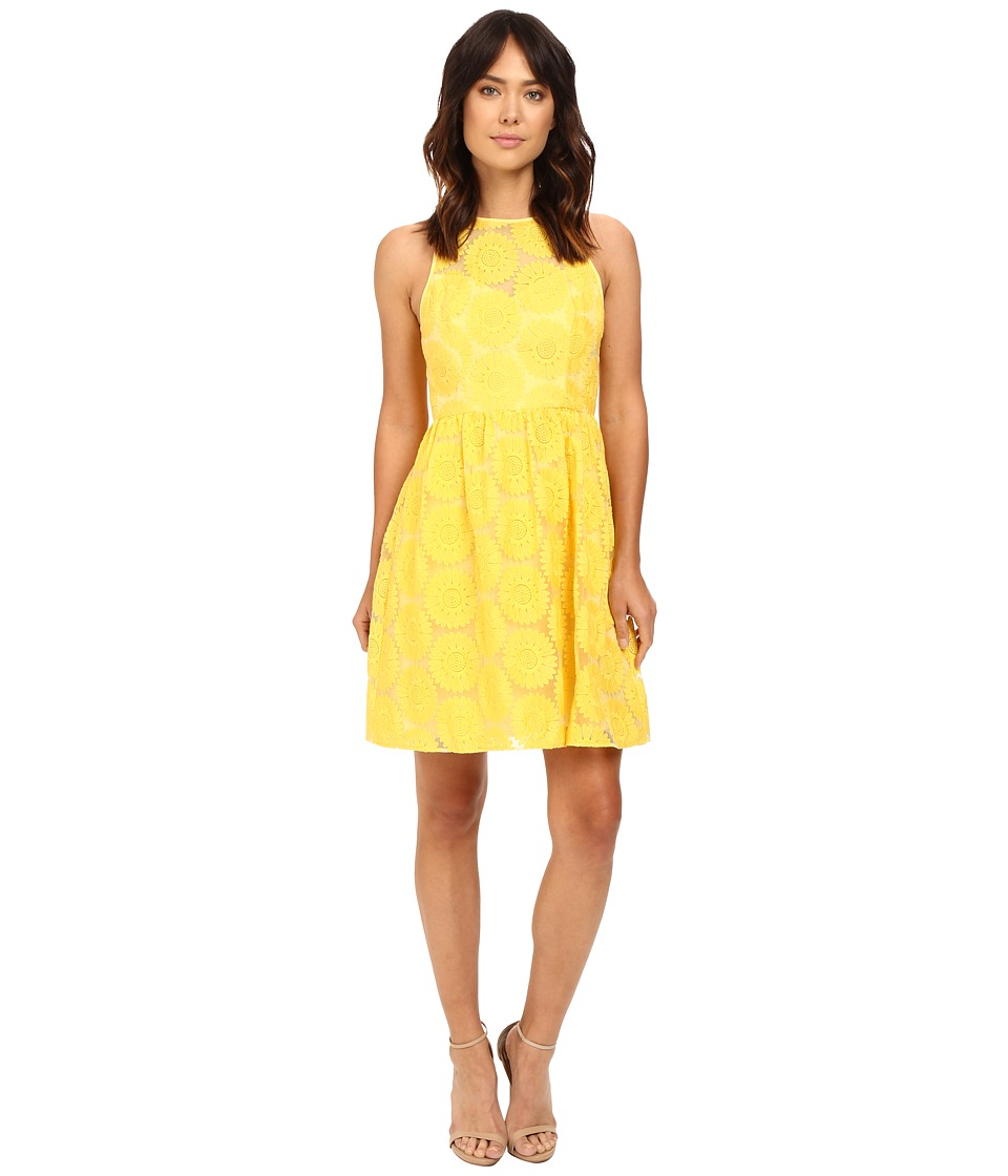 Adrianna Papell Embroidered Fit Flare w/ Illusion Neckline Dress (Yellow) Women