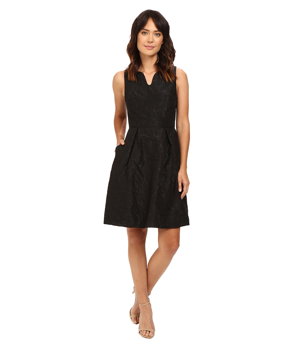 Adrianna Papell - Split Neck Fit Flare w/ Pleated Skirt Dress (Black) Women's Dress