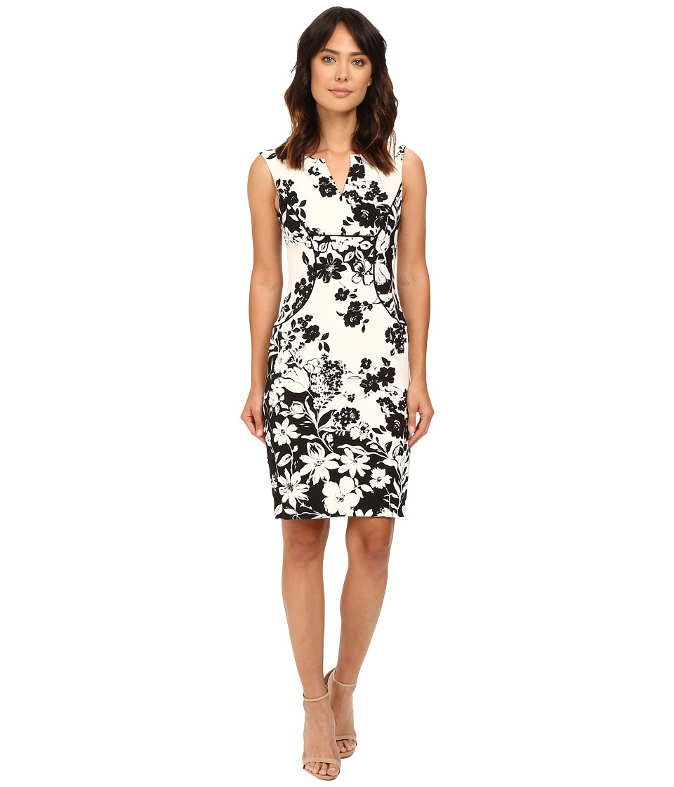 Adrianna Papell - Floral and Line Printed Pleated Sheath Dress (Ivory/Black) Women's Dress