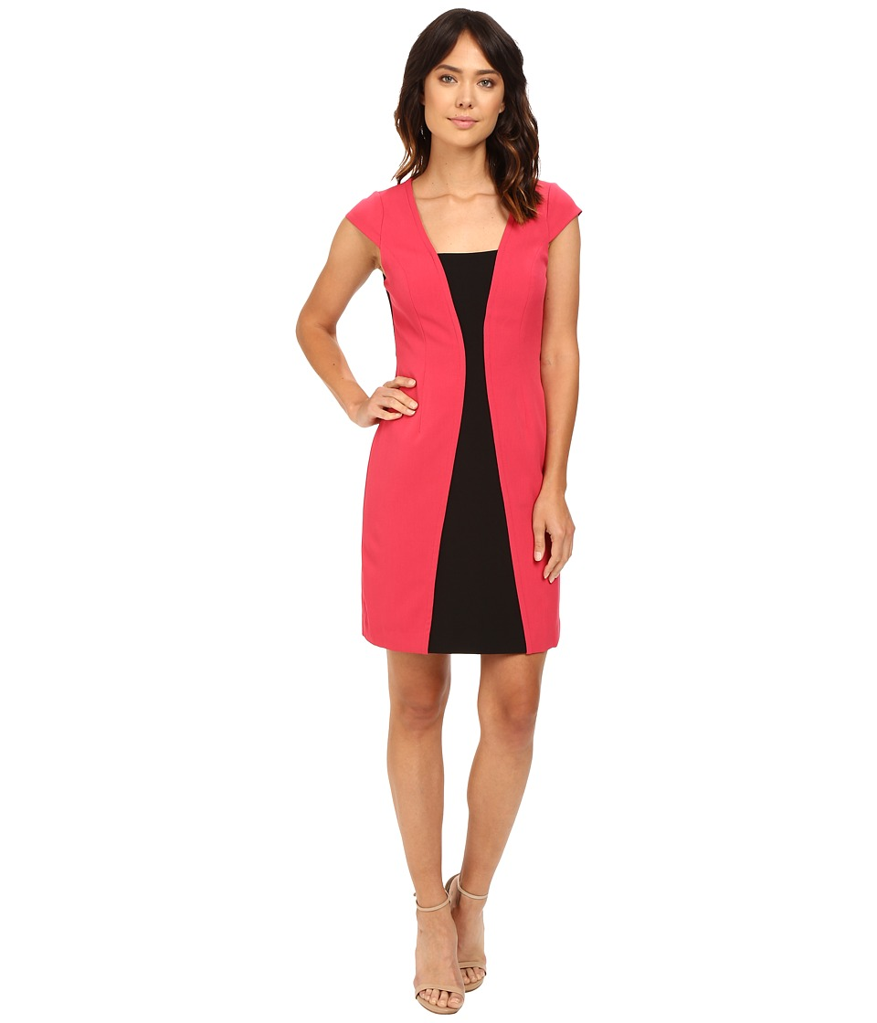 Adrianna Papell - Short Sleeve A-Line Color Block Dress (Flare Red/Black) Women's Dress