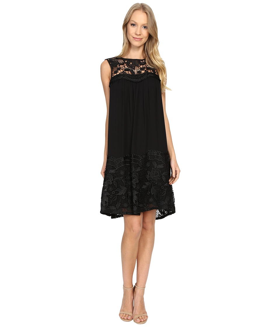 Adrianna Papell - Lace Yoke Soft Dress w/ Shirring (Black) Women's Dress