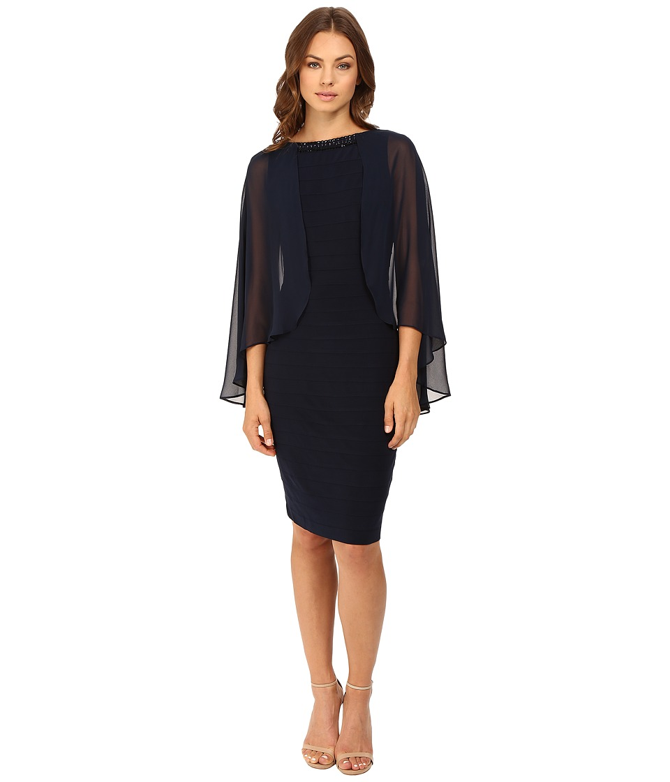 Adrianna Papell - Banded Dress w/ Chiffon Cape and Banded Body (Eclipse) Women's Dress