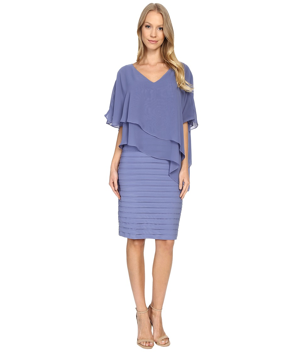 Adrianna Papell - Layered Chiffon Caplet Band Matter Jersey Dress (Cool Wisteria) Women's Dress