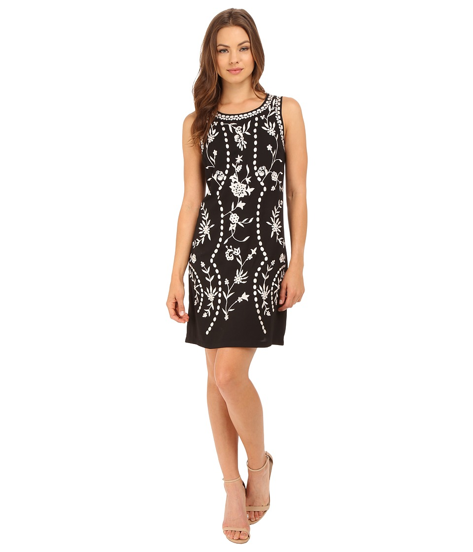 Adrianna Papell - Embroidered Pull-On Shift Dress (Black) Women's Dress