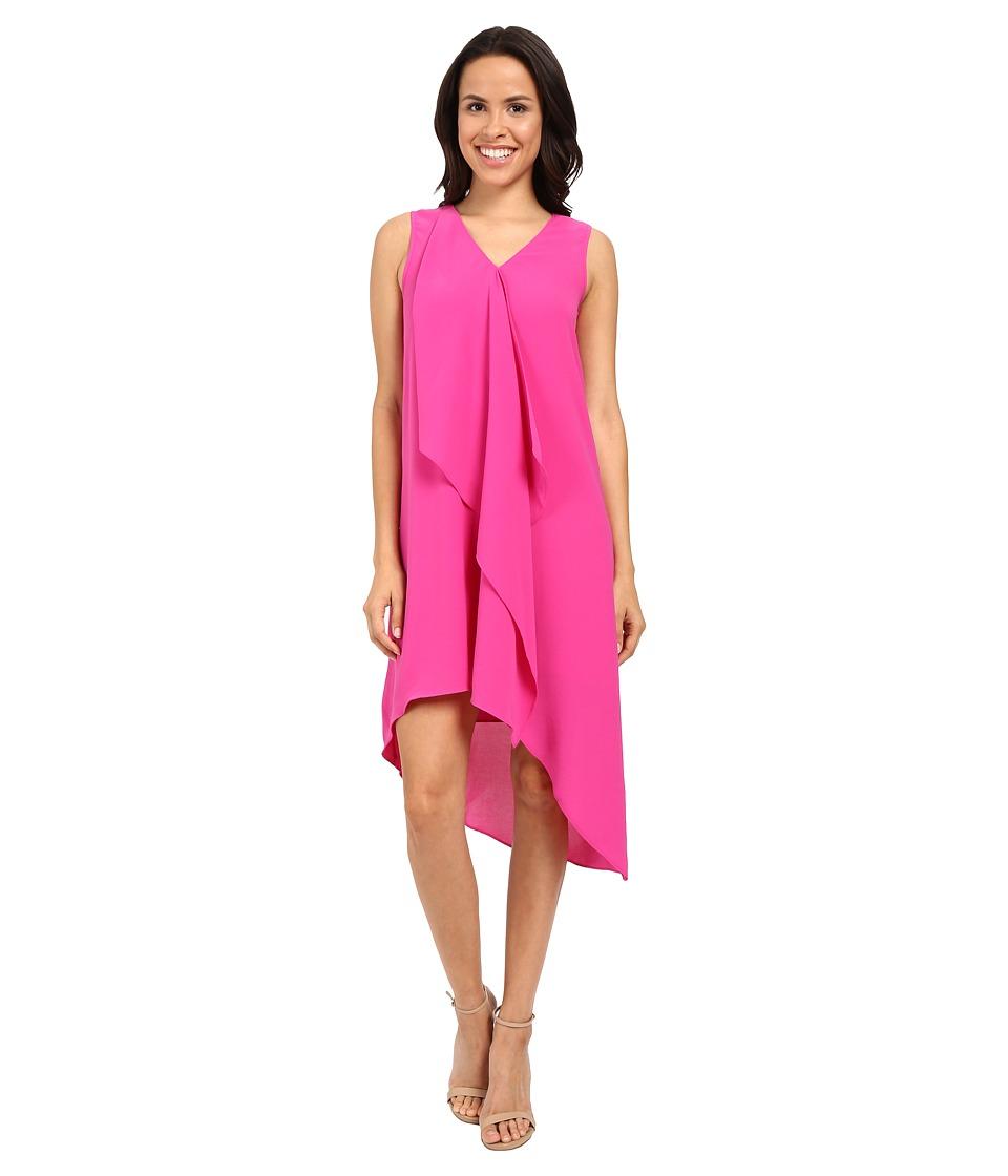 Adrianna Papell Asymmetrical Front Drape Dress (Hot Pink) Women