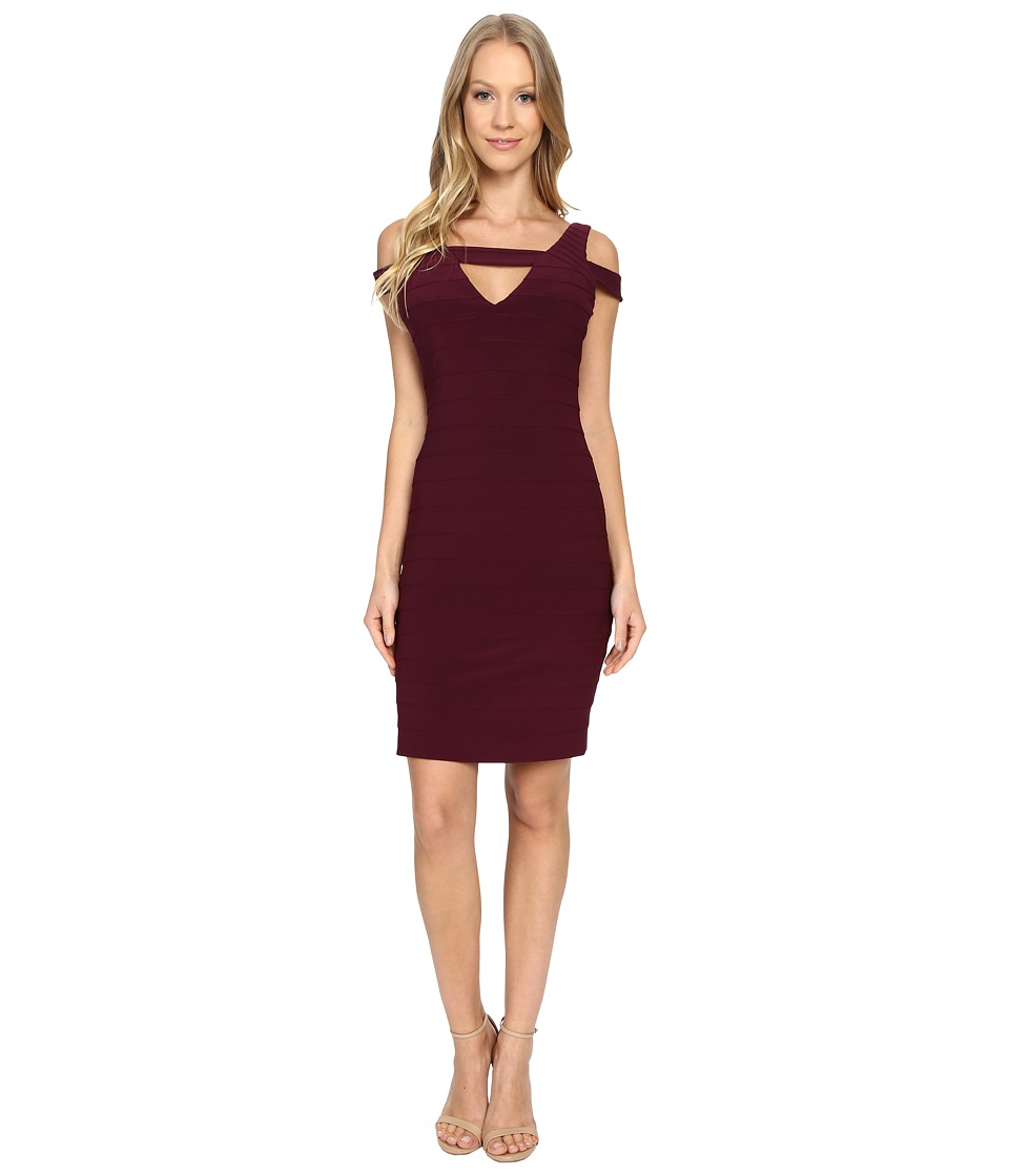 Adrianna Papell Cold Shoulder Banded Dress (Cassis) Women