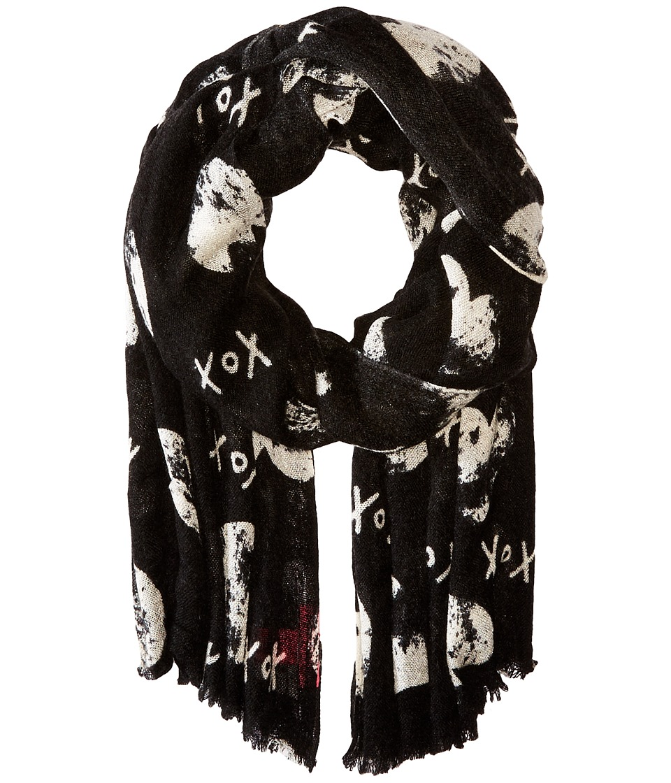 Betsey Johnson - Cross My Heart Wrap (Black) Scarves