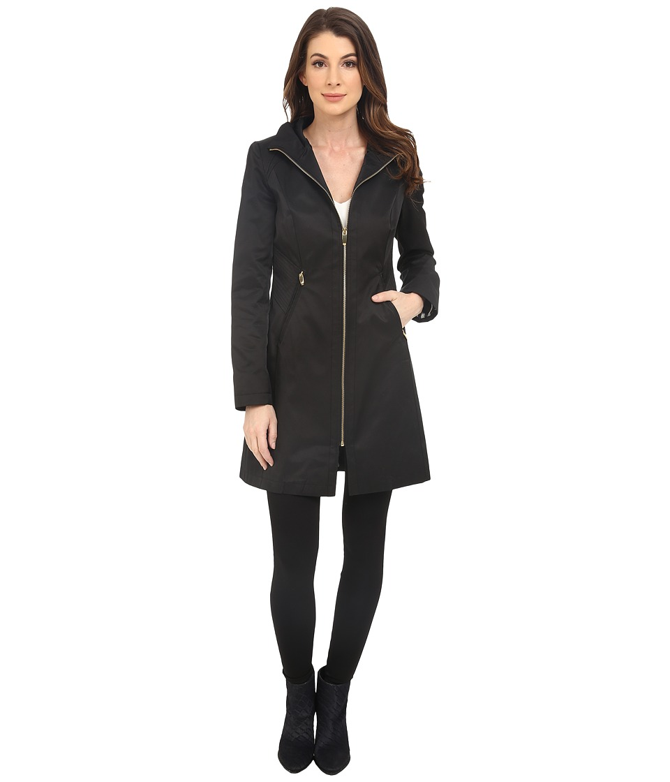 Via Spiga - Stand Collar with Novelty Stitched Sides (Black) Women's Coat