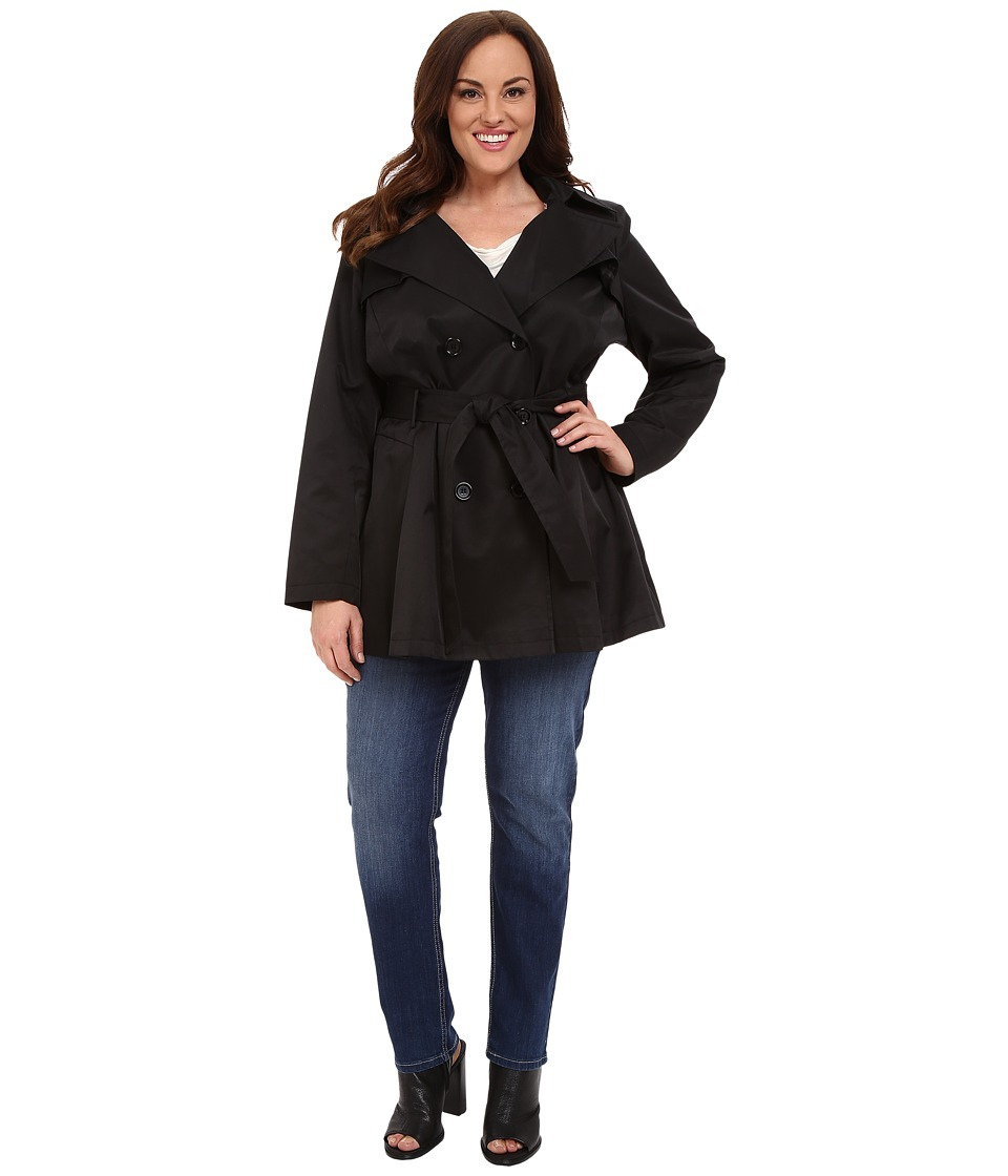 Via Spiga - Plus Size Double Breasted Trench Coat (Black) Women's Coat