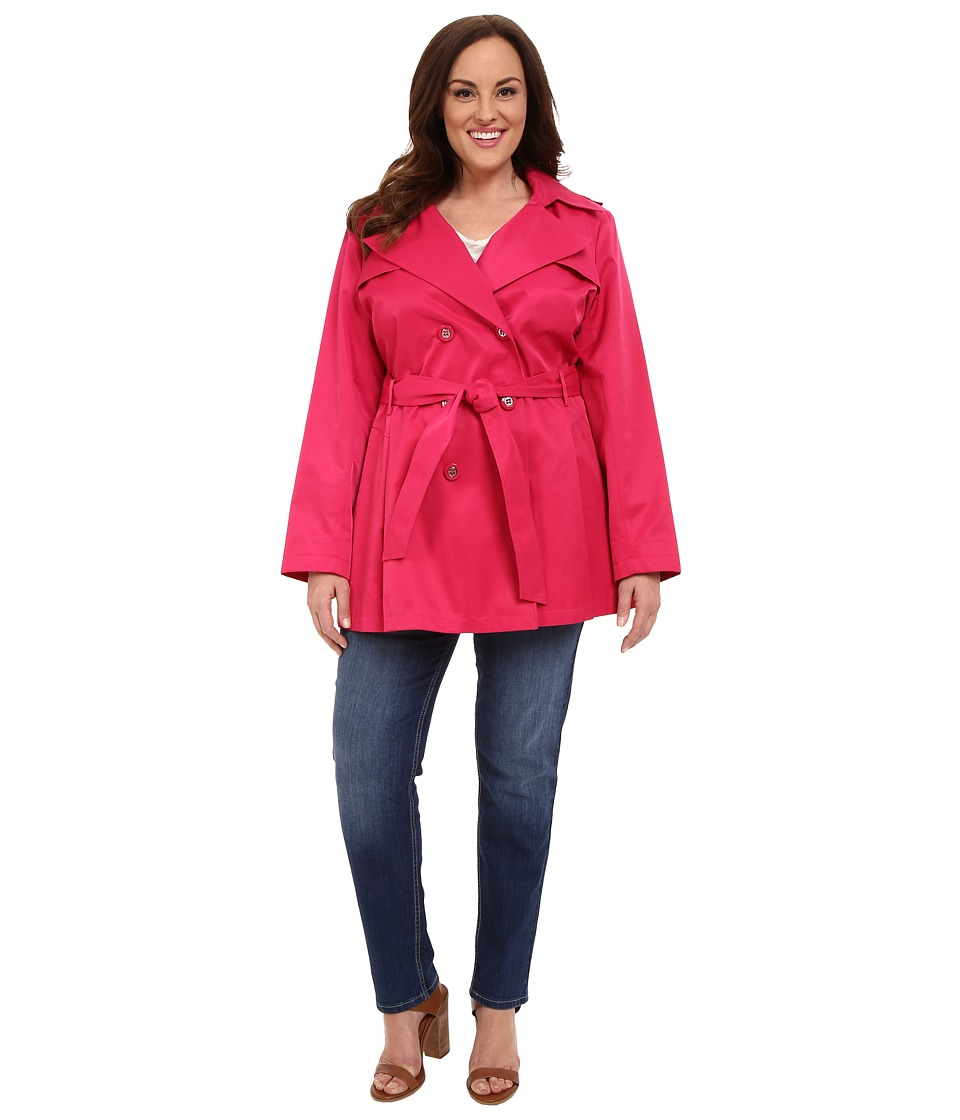 Via Spiga - Plus Size Double Breasted Trench Coat (Watermelon) Women's Coat