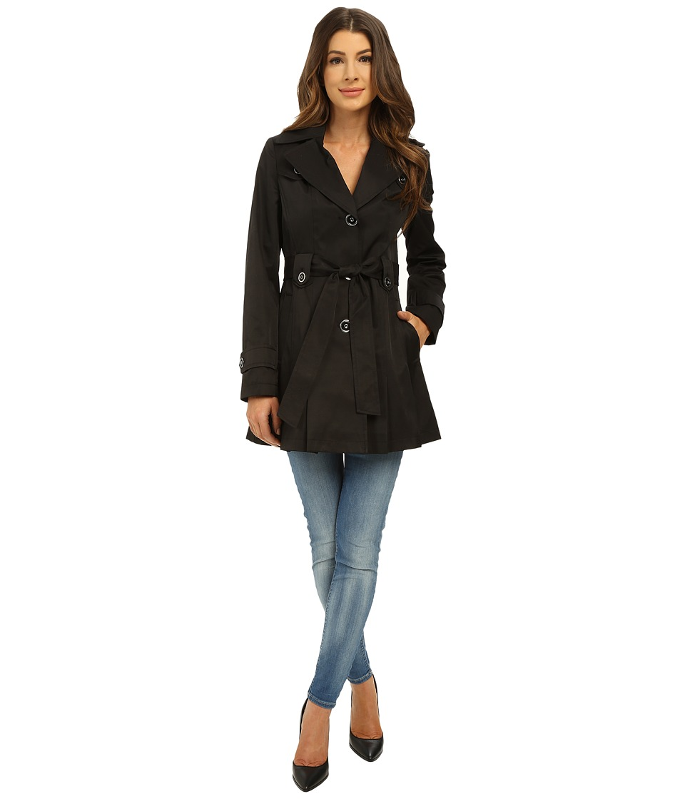 Via Spiga - Single Breasted Belted Coat (Black) Women's Coat