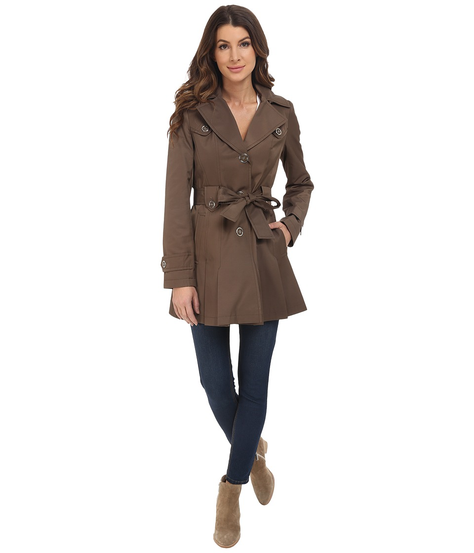 Via Spiga - Single Breasted Belted Coat (Peat Green) Women's Coat