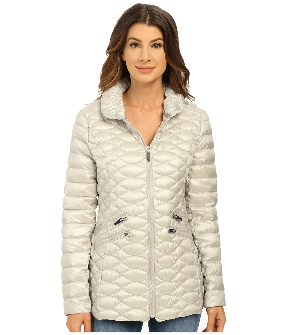 Via Spiga - Stand Collar Packable Jacket (Pearl) Women's Coat