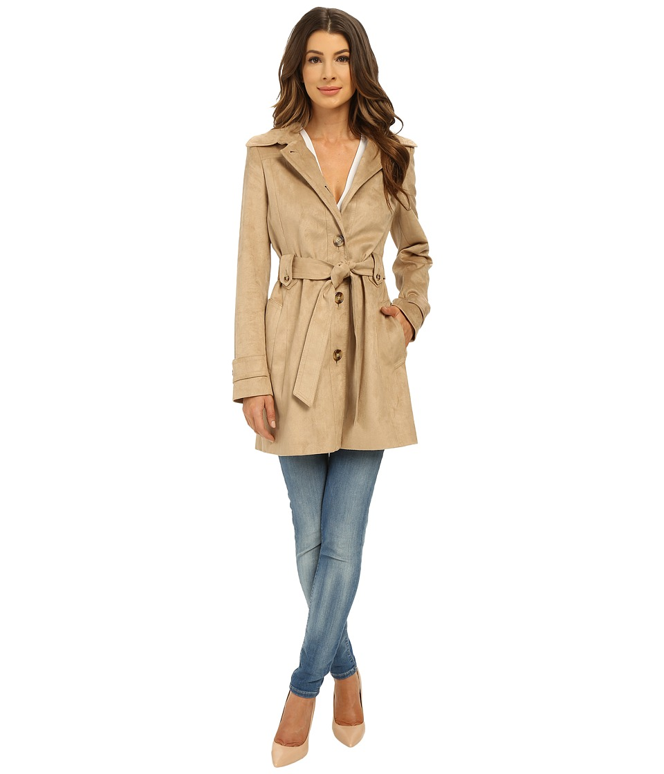 Via Spiga - Suede Belted Trench Coat (Sand) Women's Coat
