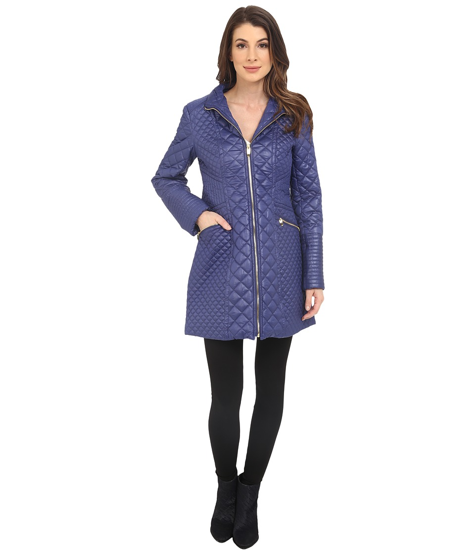 Via Spiga - Mixed Quilt Jacket (Positano Blue) Women's Coat