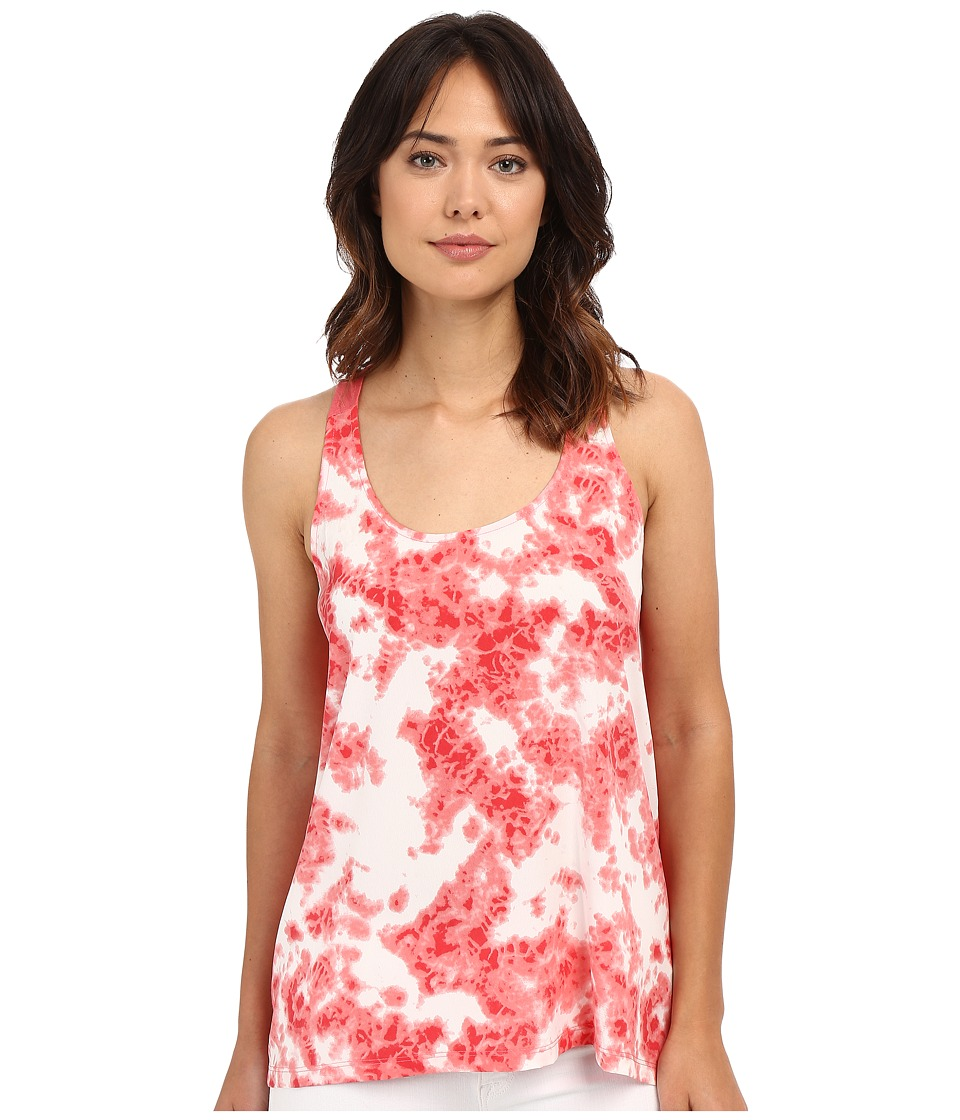 Calvin Klein Jeans - Printed Mixed Media Tank Top (Sunkist Coral) Women's Sleeveless