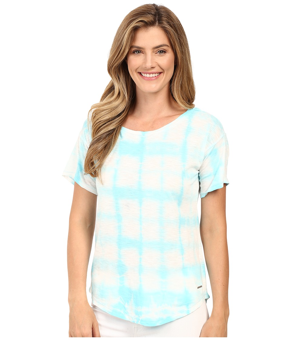 Calvin Klein Jeans - Short Sleeve Tie-Dye Shirt (Angel Blue) Women's Short Sleeve Pullover