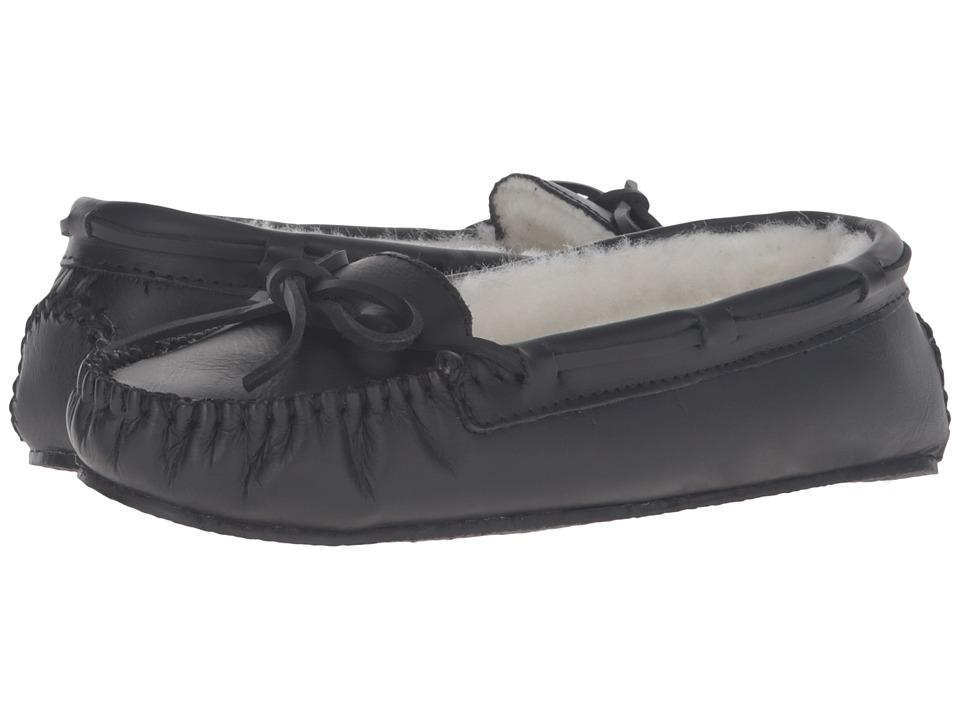 Minnetonka - Leather Cally Slipper (Black Suede) Women's Slippers