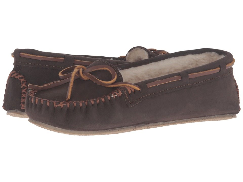 Minnetonka - Leather Cally Slipper (Brown Smooth) Women's Slippers