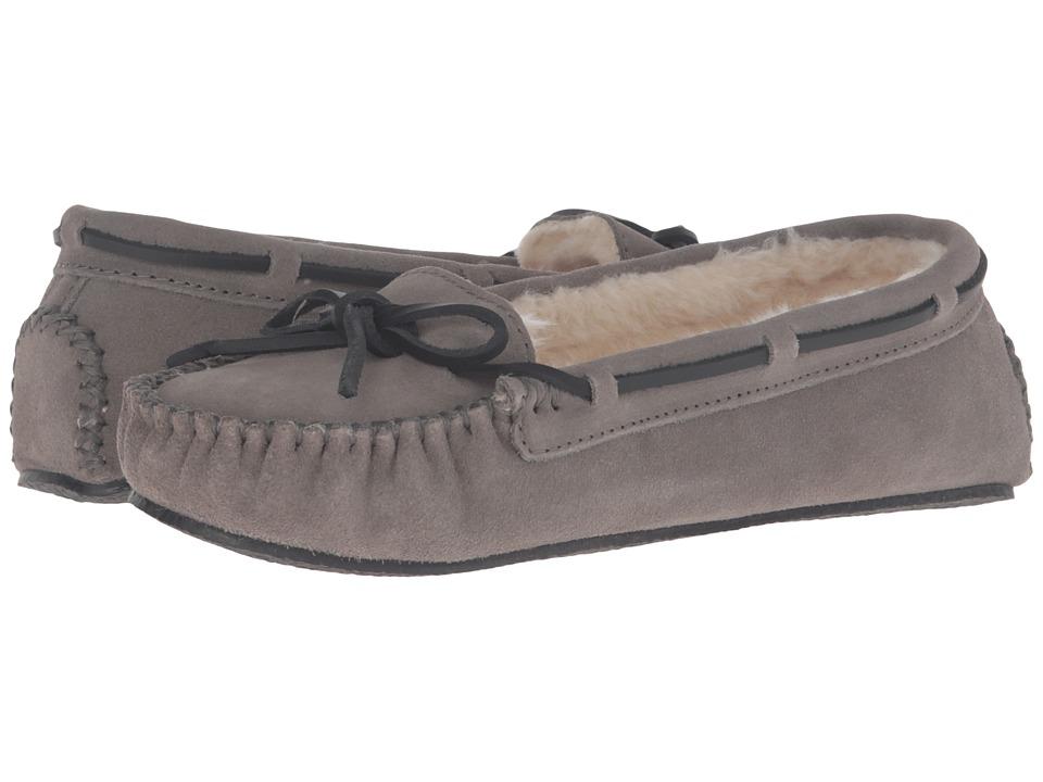 Minnetonka - Leather Cally Slipper (Light Grey Suede) Women's Slippers