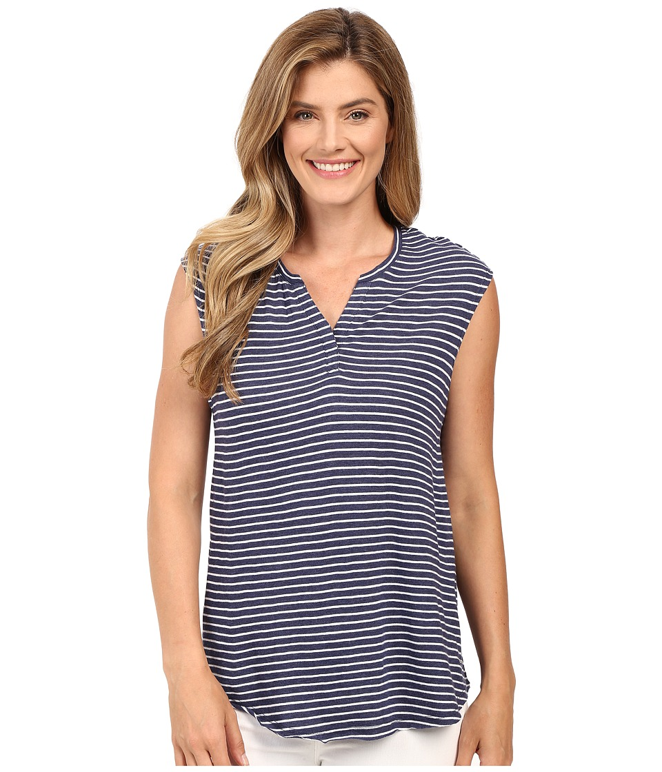Calvin Klein Jeans - Short Sleeve Striped Henley (Purple Night Heather) Women's Short Sleeve Pullover