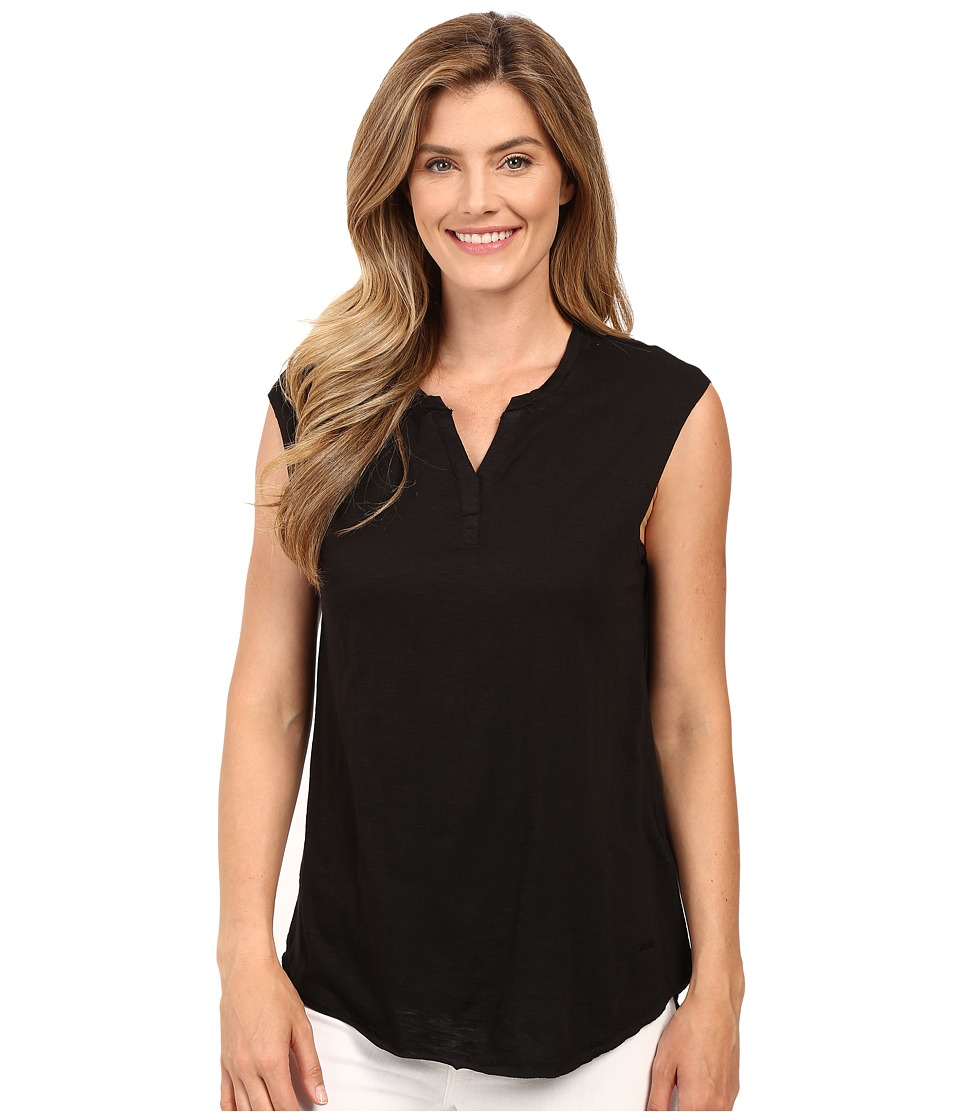 Calvin Klein Jeans - Short Sleeve Solid Henley (Black) Women's Short Sleeve Pullover
