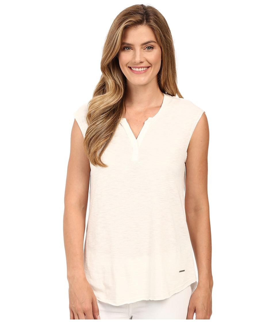 Calvin Klein Jeans - Short Sleeve Solid Henley (Gardenia) Women
