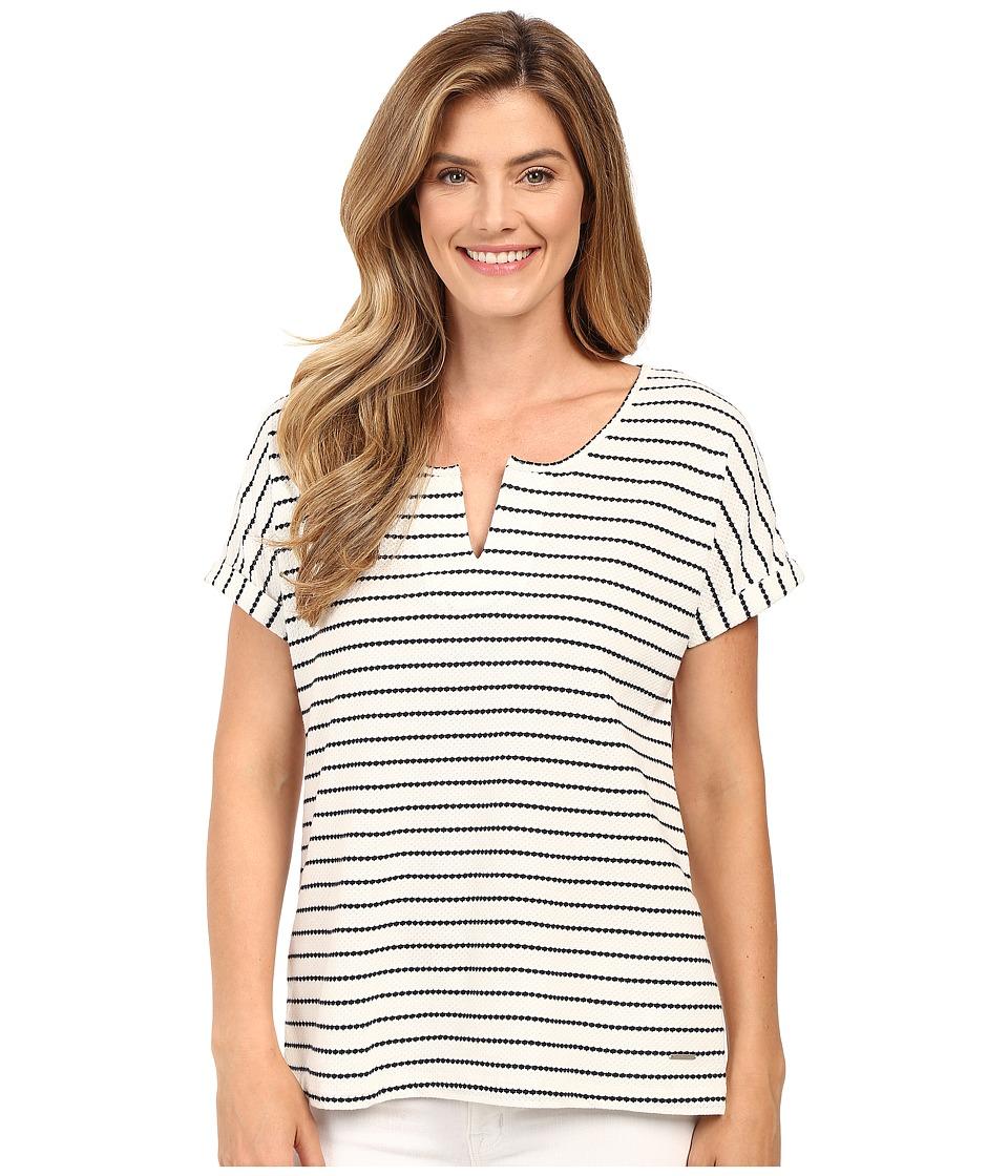 Calvin Klein Jeans - Stripe Short Sleeve Henley (Classic White) Women's Short Sleeve Pullover