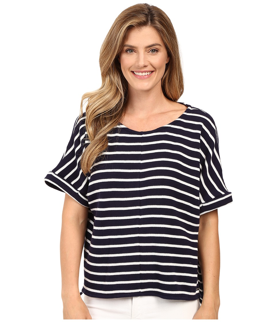 Calvin Klein Jeans - Waffle Stripe Short Sleeve Shirt (Midnight Navy) Women's Short Sleeve Pullover