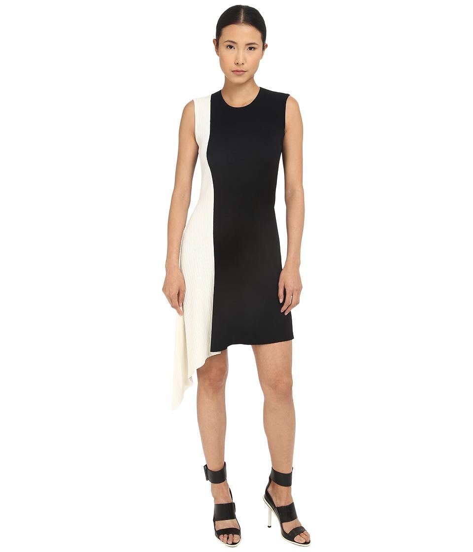 Neil Barrett Mixed Yarns Bicolour Asymmetrical Dress (Black/Pearl) Women
