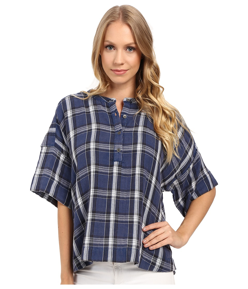 Calvin Klein Jeans - Plaid Henley 3/4 Sleeve Shirt (Indigo Night) Women's Long Sleeve Button Up