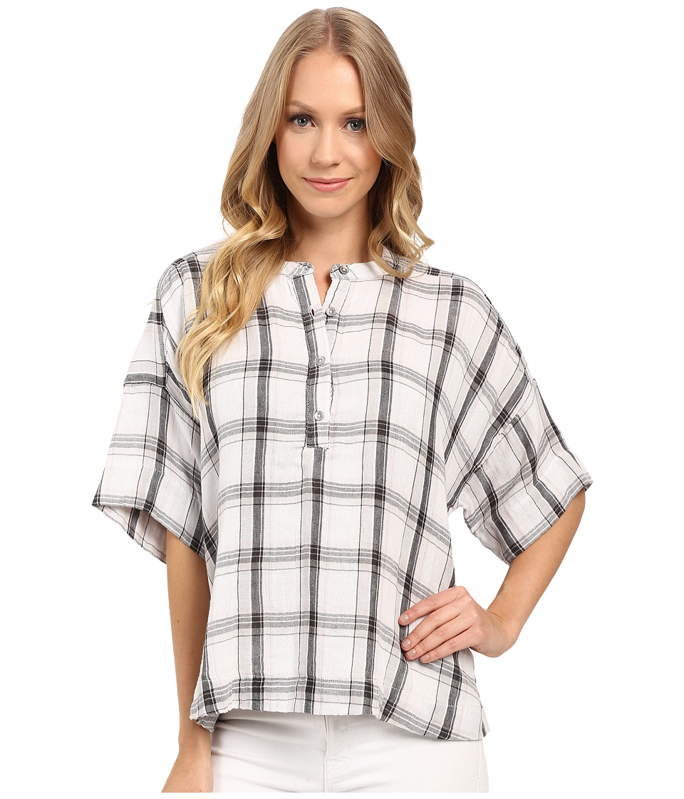Calvin Klein Jeans - Plaid Henley 3/4 Sleeve Shirt (Glacier Grey) Women's Long Sleeve Button Up