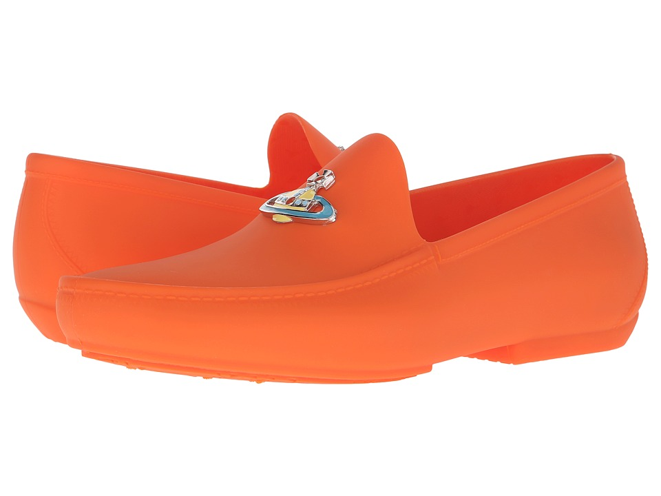 Vivienne Westwood - Orb Enameled Plastic Mocassin (Orange) Men's Moccasin Shoes