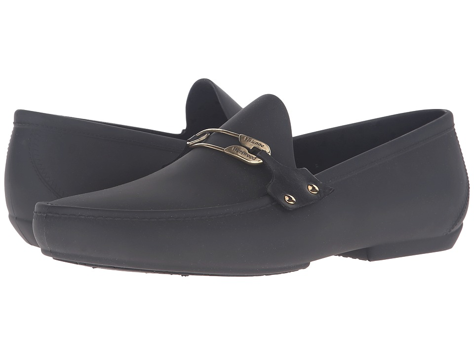 Vivienne Westwood - Safety Pin Plastic Mocassin (Black) Men's Moccasin Shoes