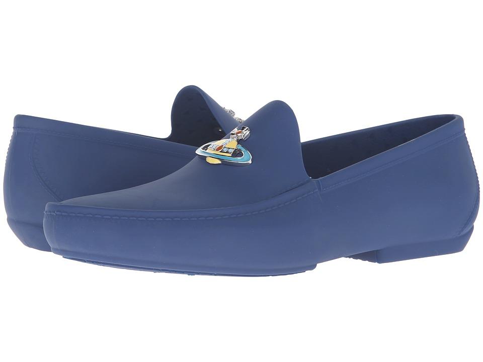 Vivienne Westwood - Orb Enameled Plastic Mocassin (Sapphire Blue) Men's Moccasin Shoes
