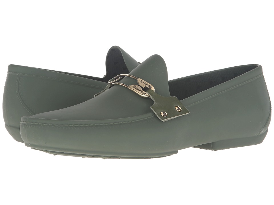 Vivienne Westwood - Safety Pin Plastic Mocassin (Green) Men's Moccasin Shoes