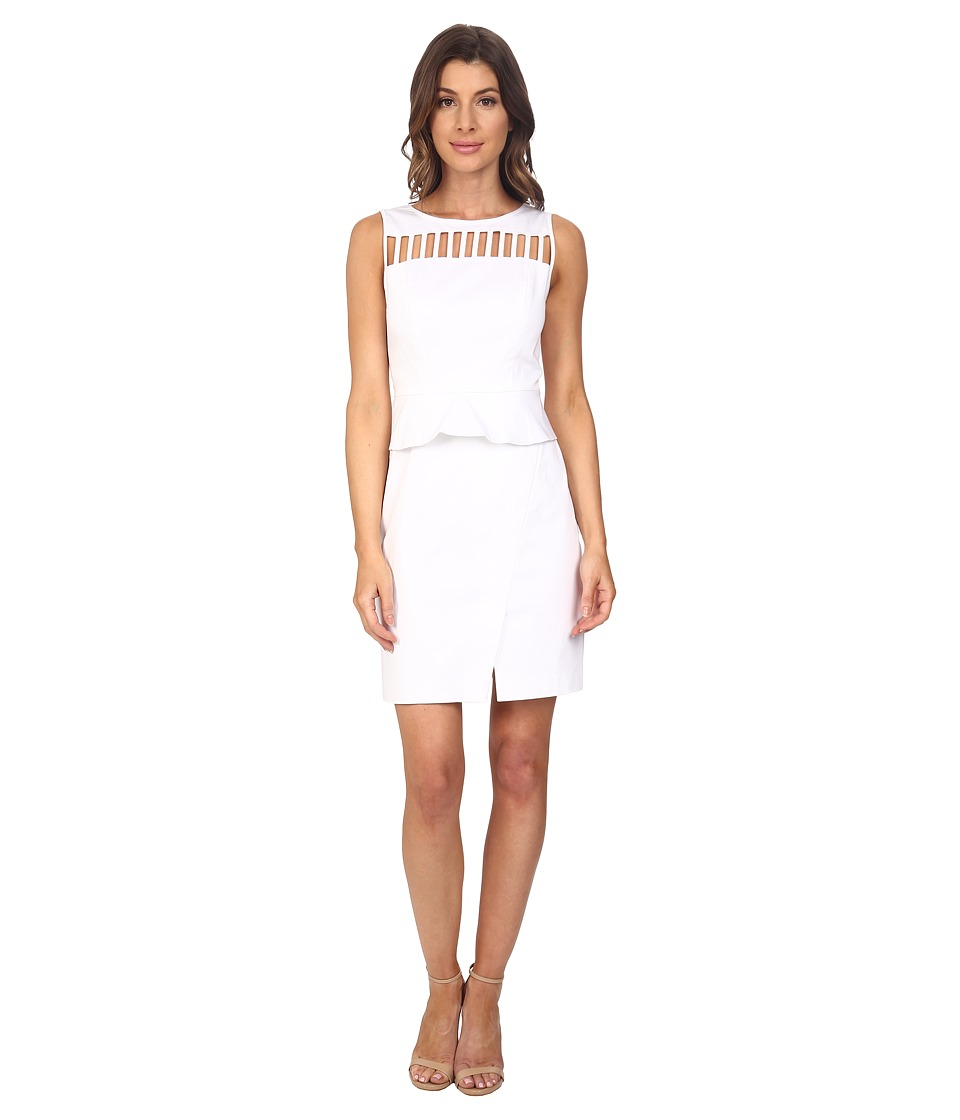 Adrianna Papell - Peplum Sheath Dress (White) Women's Dress