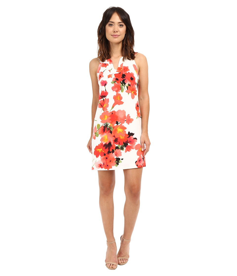 Adrianna Papell Cut Away Printed Floral Shift Hibiscus Dress