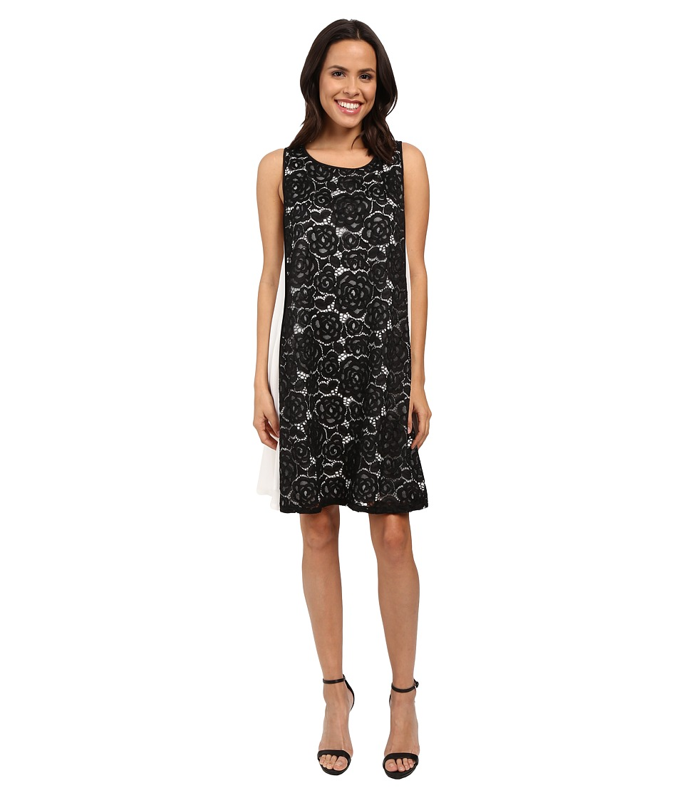 Adrianna Papell - Mod Lace Insert Trapeze Dress (Black/Ivory) Women's Dress