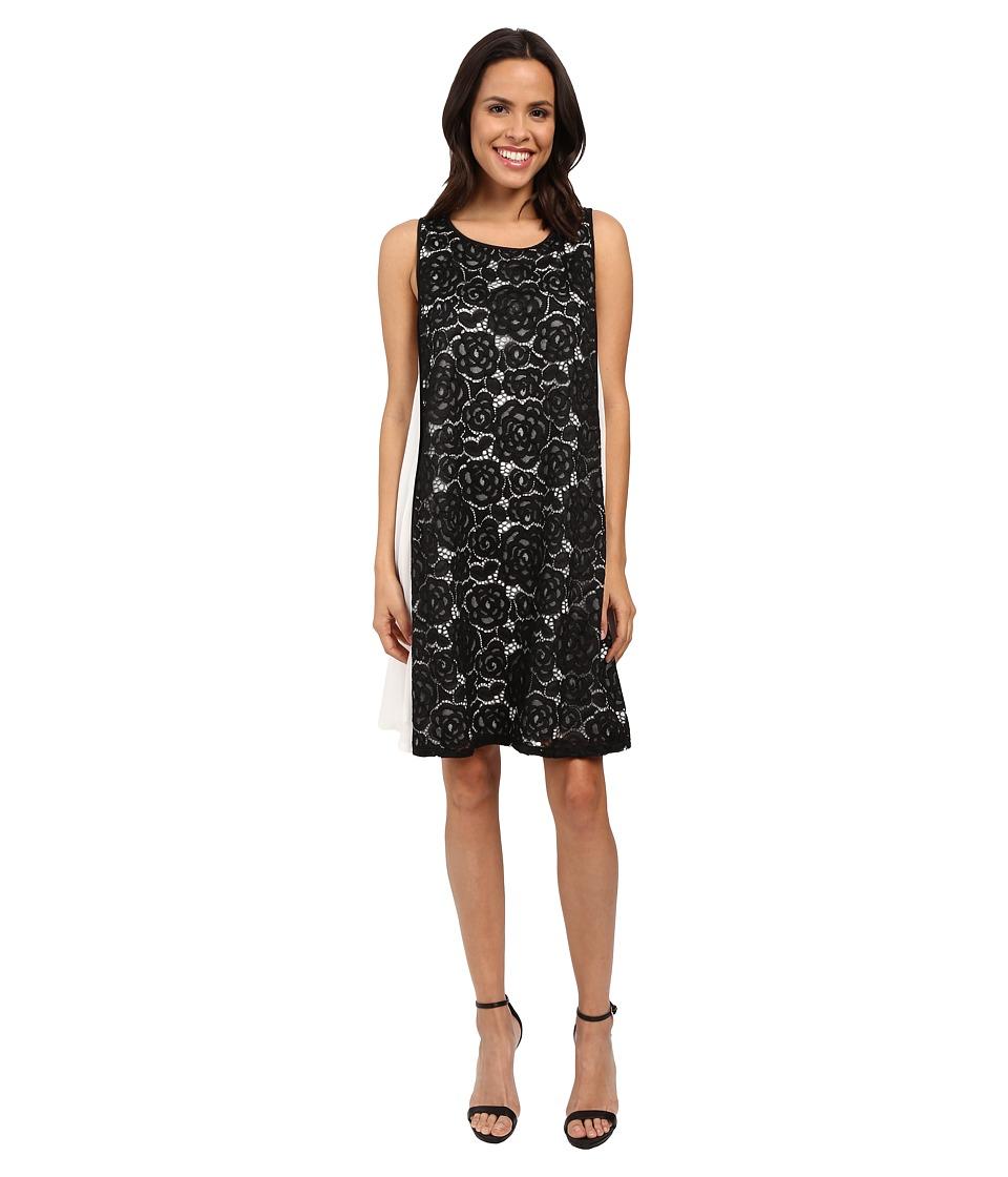 Adrianna Papell Mod Lace Insert Trapeze Dress (Black/Ivory) Women