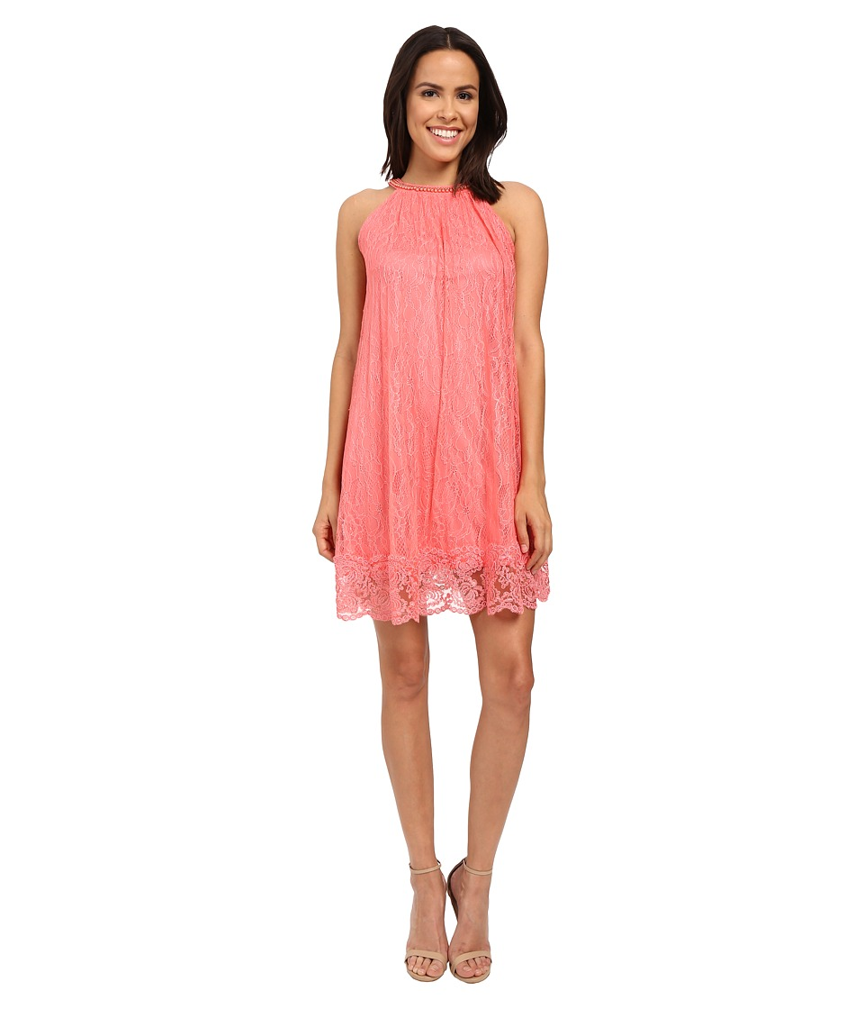 Adrianna Papell Babydoll Embellished Neckline Dress (Light Coral) Women
