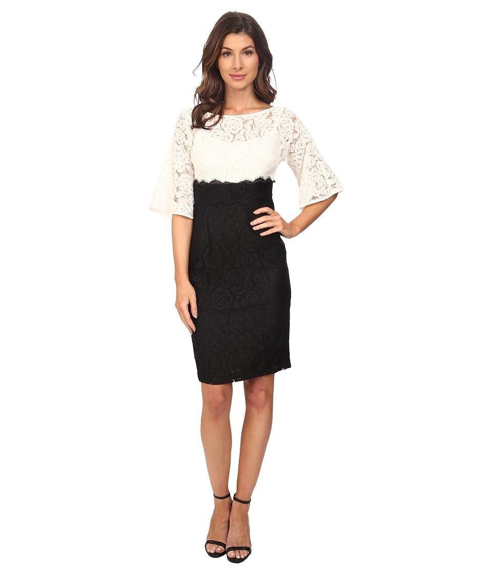 Adrianna Papell - Flutter Kimono Sleeve High Waisted Sheath (Ivory/Black) Women's Dress