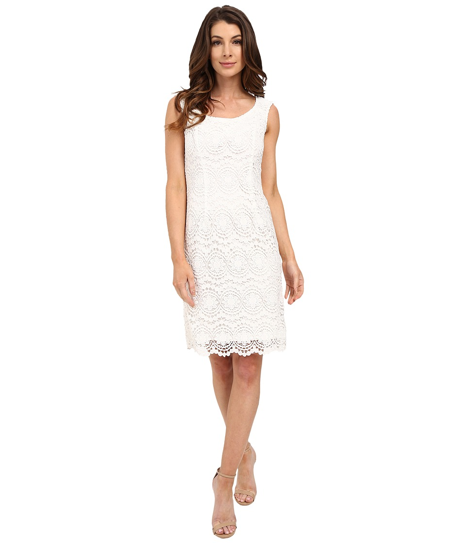Adrianna Papell - Scoop Neck Crochet Sheath Dress (Ivory) Women's Dress