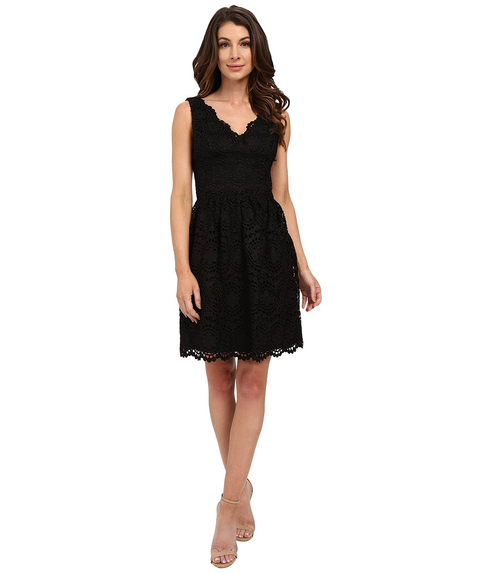Adrianna Papell - V-Neck Sleeveless Fit Flare Dress (Black) Women's Dress