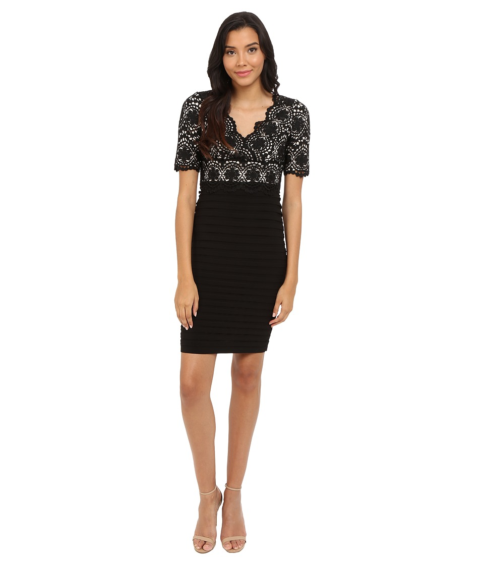 Adrianna Papell Banded and Lace V-Neck Sheath (Black Powder) Women