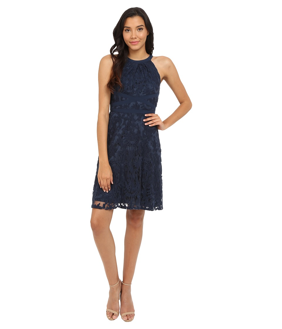 Adrianna Papell - Filigree Lace Fit Flare Dress (Midnight Blue) Women's Dress